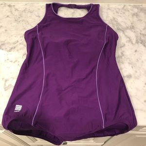 Lands' End Vintage Purple One Piece Bathing Suit